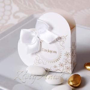 pudełeczka na upominek dla gości vintage pierwsza komunia złoty anioł