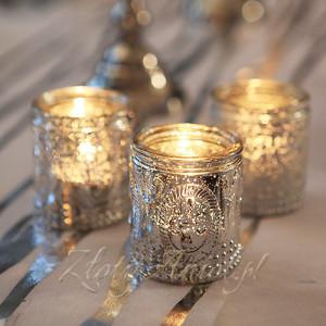 świecznik na tealight świecznik komunijny srebrny nowoczesny