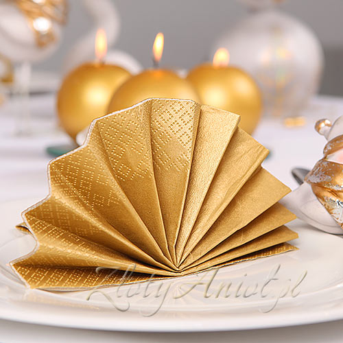 Klasyczne Złote Serwetki Na Przyjęcie Komunijne Dekoracje
