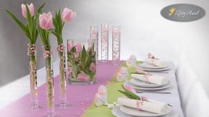 aranżacja różowo-zielona dekoracje komunijne