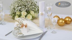 dekoracje komunijne aranżacja elegancka festiva złota