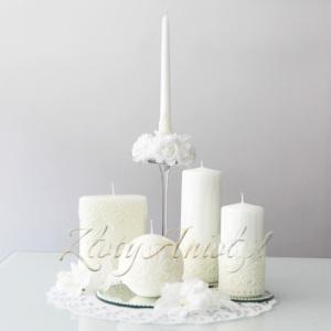 świece koronkowe dekoracje stołu komunia