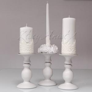 ŚWIECZNIK biały do różnych świec komunia