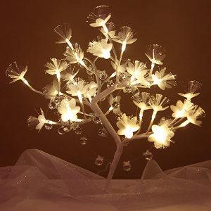 DRZEWKO dekoracyjne z ledowych kwiatów 45cm