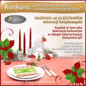 konkurs dekoracje na przyjęciu komunijnym mojego dziecka zlotyaniol.pl